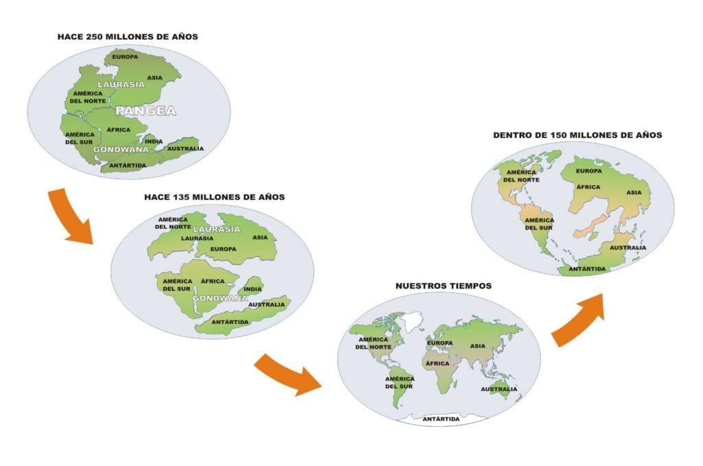 Ciclo continuo de la historia de pangea